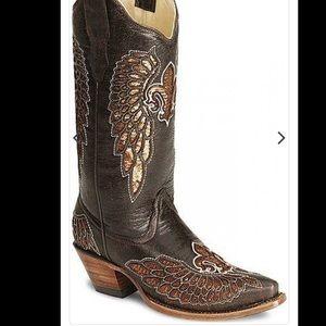 VINTAGE Corral Fleur De Lis wing boot